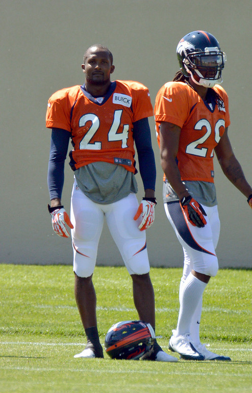 . Denver Broncos CB Champ Bailey (24) in drills during training camp July 31, 2013 at Dove Valley. (Photo By John Leyba/The Denver Post)