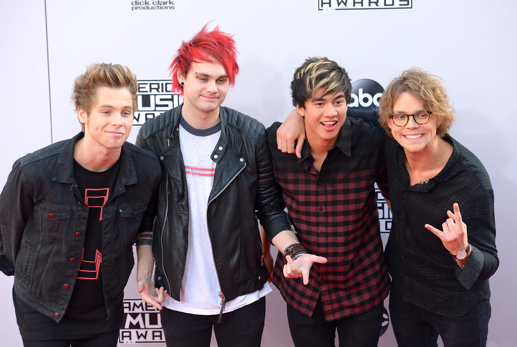 . The Band  5 Seconds of Summer arrives on the red carpet at the 2014 American Music Awards  at the Nokia Theatre in Los Angeles, California on Sunday November 23, 2014. (Photo by David Crane / Los Angeles Daily News)