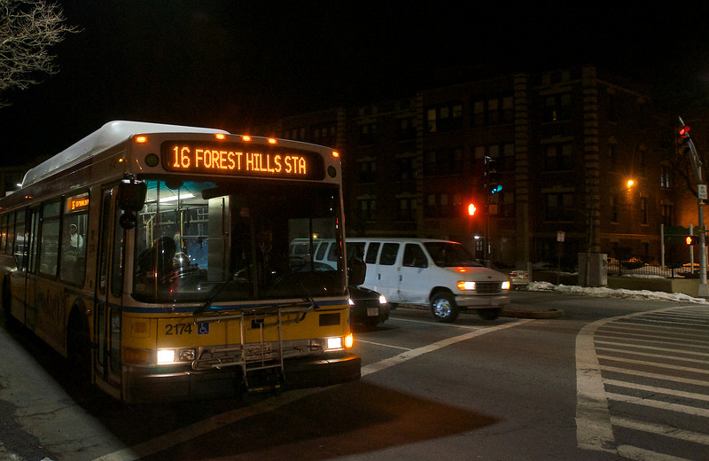 031013, Boston, MA - The Number 16 bus departs the intersection of Columbia Road and Geneva Avenue, where a MBTA bus driver was assaulted by several people. Herald photo by Ryan Hutton