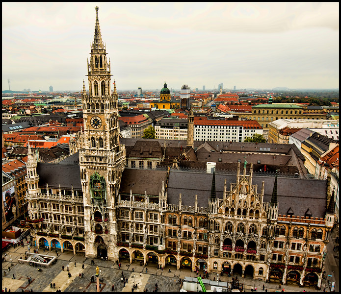 The Marienplatz and Neues Rathaus (New City Hall)