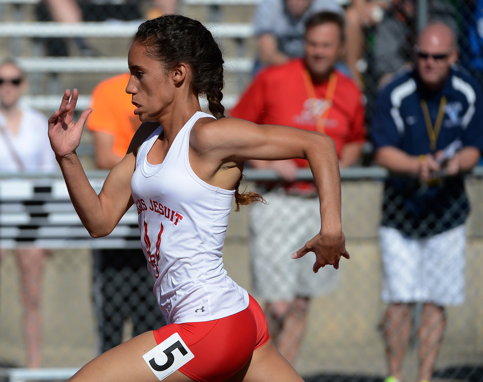 . LAKEWOOD, CO - MAY 16: Ana Holland, Regis Jesuit, heads down track and wins the girls 5A preliminary 100 meter run at the 2013 Colorado State Track and Field Championships at Jeffco Stadium May 16, 2013. (Photo By Andy Cross/The Denver Post)