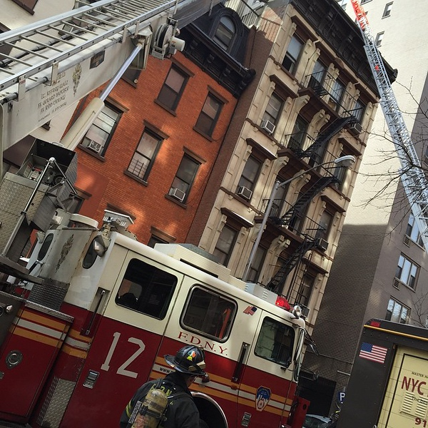 Not a movie set. Whole block is closed. Must be 100+ firefighters here. #brave #FDNY