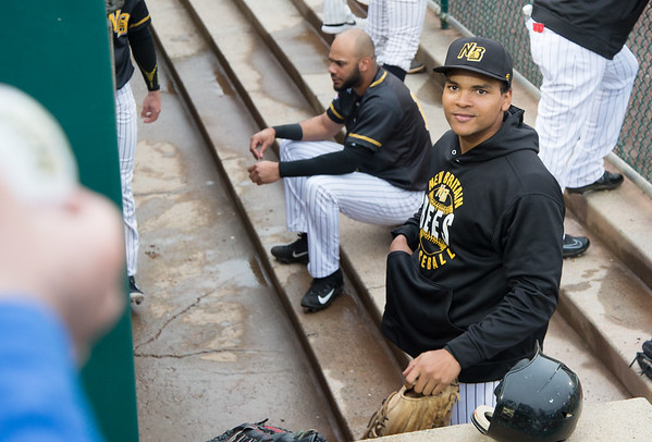 05/03/19 Wesley Bunnell | Staff The New Britain Bees home opener vs the Somerset Patriots on Friday night at New Britain Stadium. Jared James (11) looks up at a fan asking for an autograph.