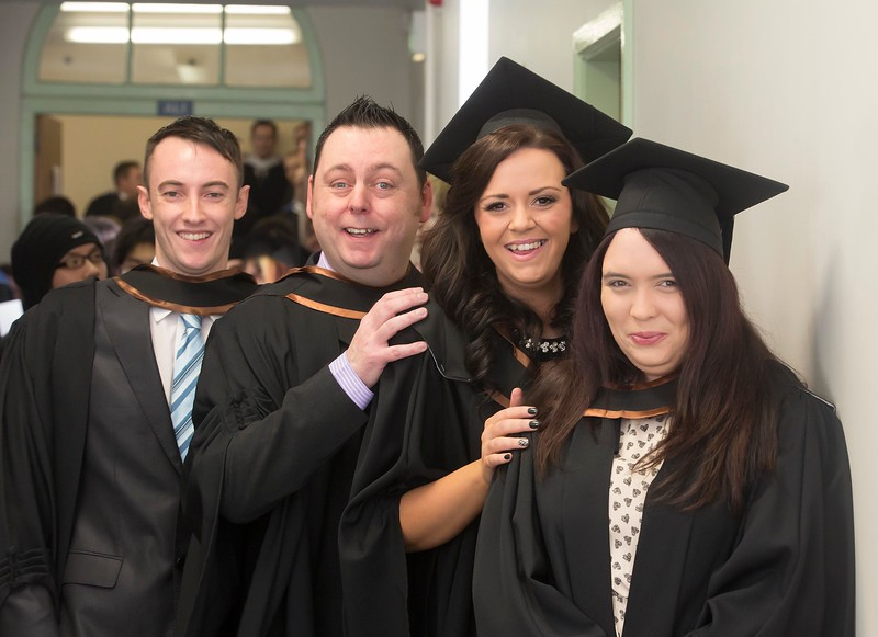 Waterford Institute Of Technology Conferring. Pictured at WIT Waterford Institute Of Technology Conferring are Seamus Frisby, Kilkenny, David Flynn, Waterford, Kate Cummins, Waterford and Leanne Burke, Kilkenny who graduated Bachelor Of Science (Honours) in Multimedia. Picture: Patrick Browne