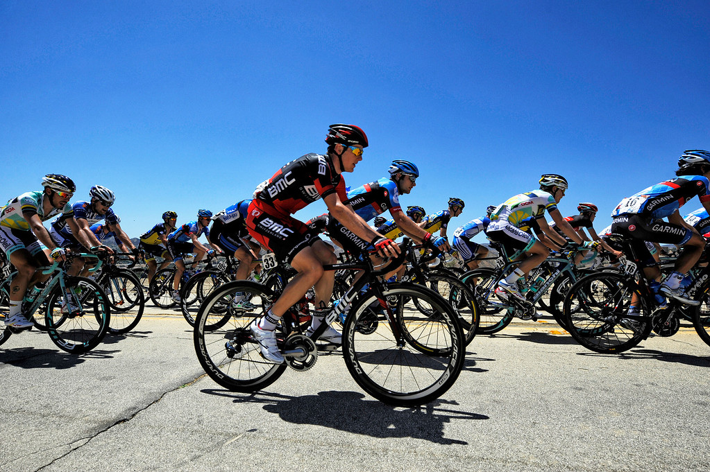 . Competitors make their way up Lake Hughes Rd in Castaic during Stage 3 from Palmdale to Santa Clarita of the Amgen Tour of California bicycle race Tuesday, May 14, 2013. (Hans Gutknecht/Los Angeles Daily News)