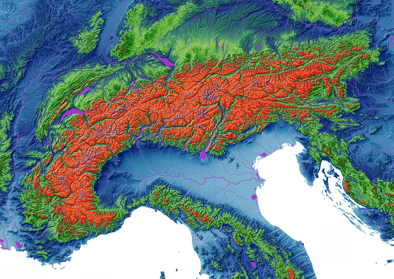 Elevation map of the Alps