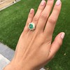 5.34ctw Emerald and Old Mine Cut Diamond Cluster Ring 6