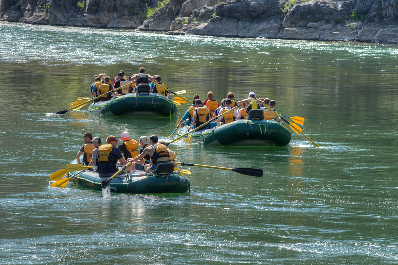 Vacationers in Jackson Hole enjoy floating the Snake River.