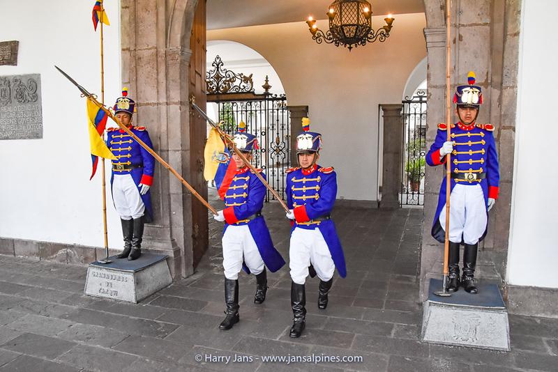 changing guards at Palacio de Carondelet, Quito