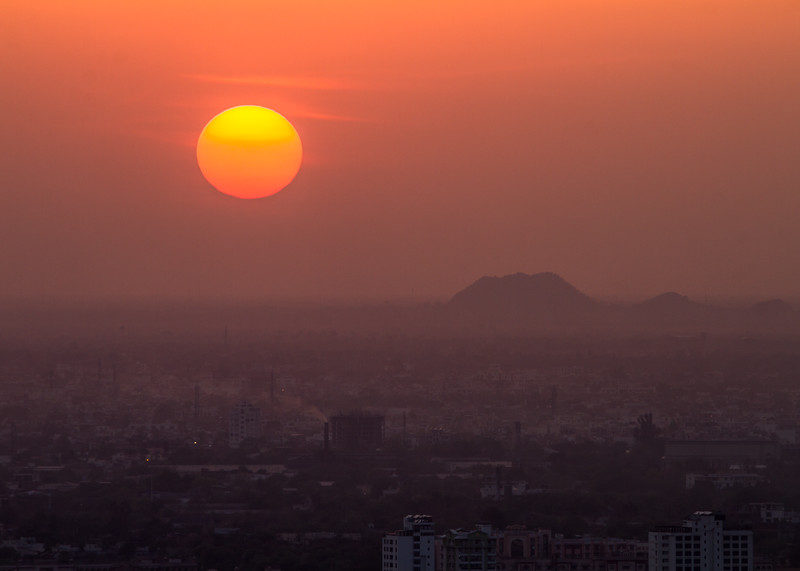 The sunset as seen over Jaipur, India
