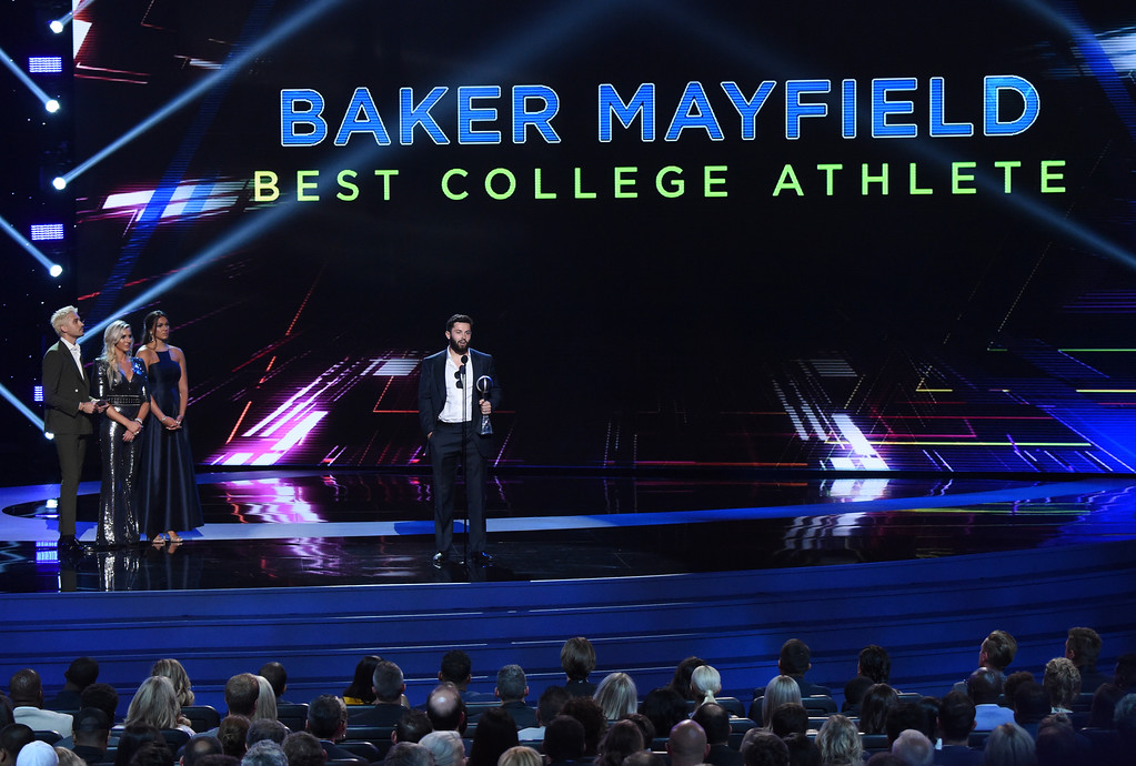 . Baker Mayfield, now with the Cleveland Browns, accepts the award for best college athlete for his time with Oklahoma, at the ESPY Awards at Microsoft Theater on Wednesday, July 18, 2018, in Los Angeles. (Photo by Phil McCarten/Invision/AP)