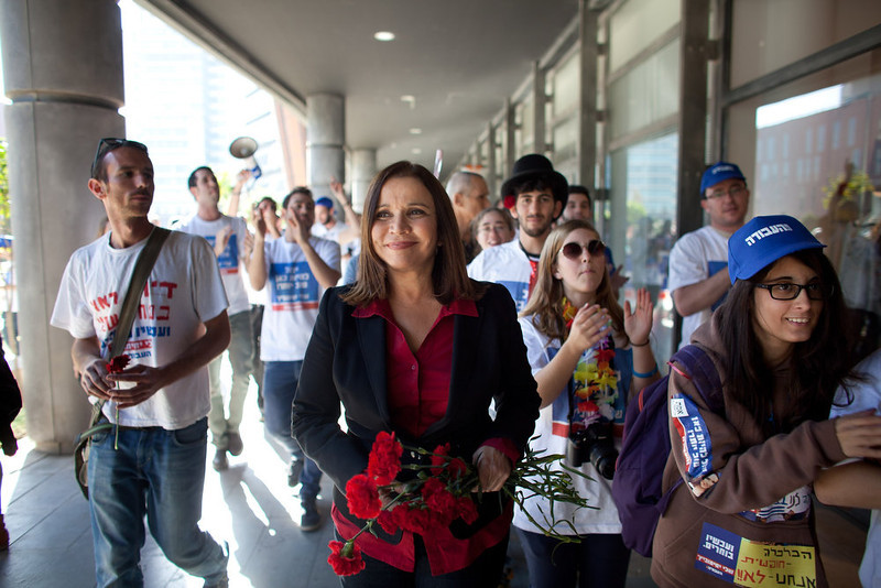 . Israeli Labor party leader Shelly Yachimovich campaigns on January 21, 2013 in Tel Aviv, Israel. The Israeli general election will be held on January 22.  (Photo by Uriel Sinai/Getty Images)