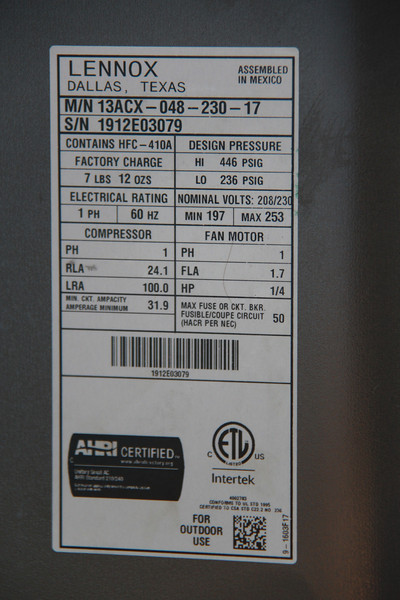 8.06.12 Lennox Air Conditioning Unit (New)