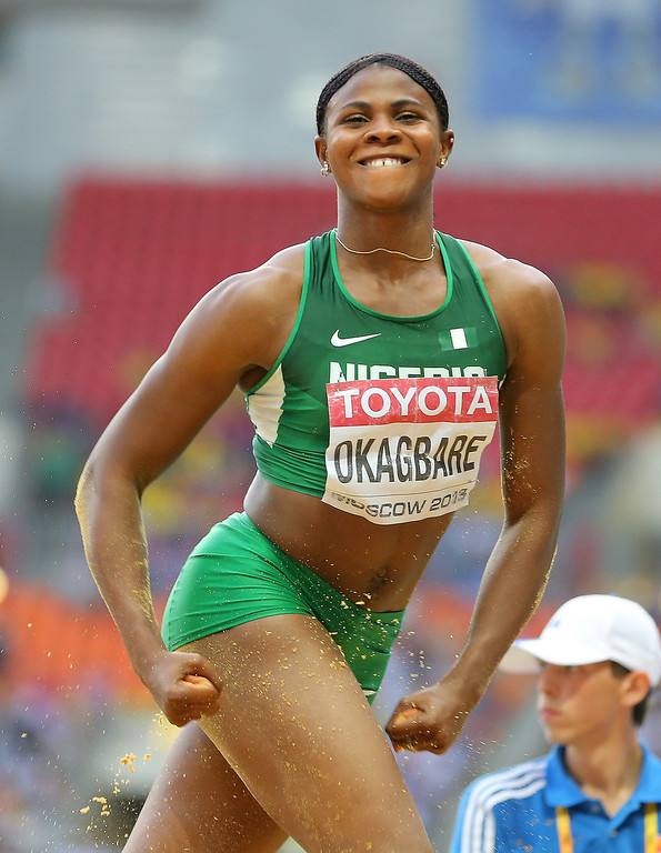 . Blessing Okagbare of Nigeria celebrates a jump in the Women\'s Long Jump final during Day Two of the 14th IAAF World Athletics Championships Moscow 2013 at Luzhniki Stadium on August 11, 2013 in Moscow, Russia.  (Photo by Christian Petersen/Getty Images)