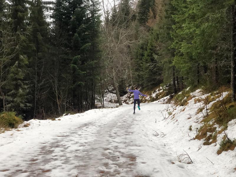 Having fun nearly sliding in the snow