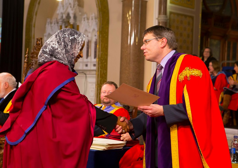 Waterford Institute Of Technology Conferring. Pictured at WIT Waterford Institute Of Technology Conferring are Reem Elsiddig, Waterford who was conferred a Doctor of Philosophy from Dr. Ruaidhrí Neavyn, President, WIT. Picture: Patrick Browne