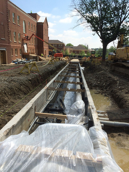 New steam tunnel in front of Kreger Hall