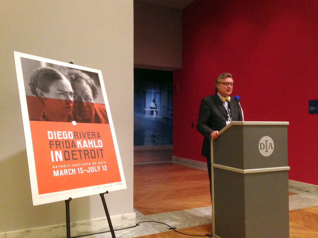 """. Detroit Institute of Arts Director Graham Beale speaks at his last DIA a media preview, introducing the exhbit \""""Diego Rivera / Frida Kahlo in Detroit,\"""" running March 15-July 12 at the DIA."""