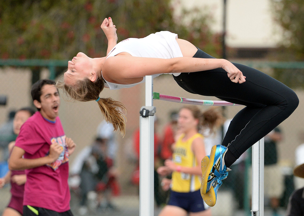 . Glendora\'s Sidney Pink competes in the division 2 high jump during the CIF Southern Section track and final Championships at Cerritos College in Norwalk, Calif., on Saturday, May 24, 2014.   (Keith Birmingham/Pasadena Star-News)