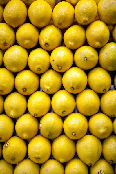 Lemons, Boqueria market, town of Barcelona, autonomous commnunity of Catalonia, northeastern Spain