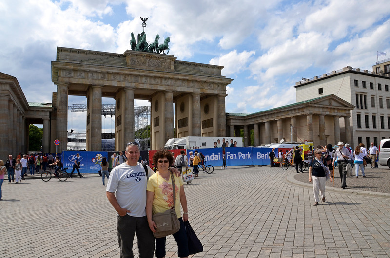 2012-06-08 ––– While in Berlin we wanted to see the Brandenburg Gate, but due to the European soccer championships the area was taken over by promoters and the media. You can see a stage just beyond the gate and this was the best shot we could get. It was still very impressive.