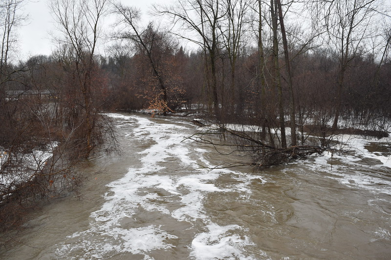 The Rouge River overflows its banks and floods a park in Northville, Mich., on Tuesday, Feb. 20, 2018. Most of Southeast Michigan is under a flood watch until Wednesday night. (Mark Cavitt/The Oakland Press)