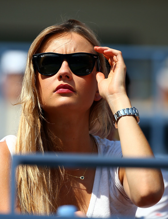 . NEW YORK, NY - AUGUST 27:  Model Ester Satorova watches boyfriend Tomas Berdych of the Czech Republic play Lleyton Hewitt of Australia during their men\'s singles first round match on Day Three of the 2014 US Open at the USTA Billie Jean King National Tennis Center on August 27, 2014  in the Flushing neighborhood of the Queens borough of New York City.  (Photo by Streeter Lecka/Getty Images)