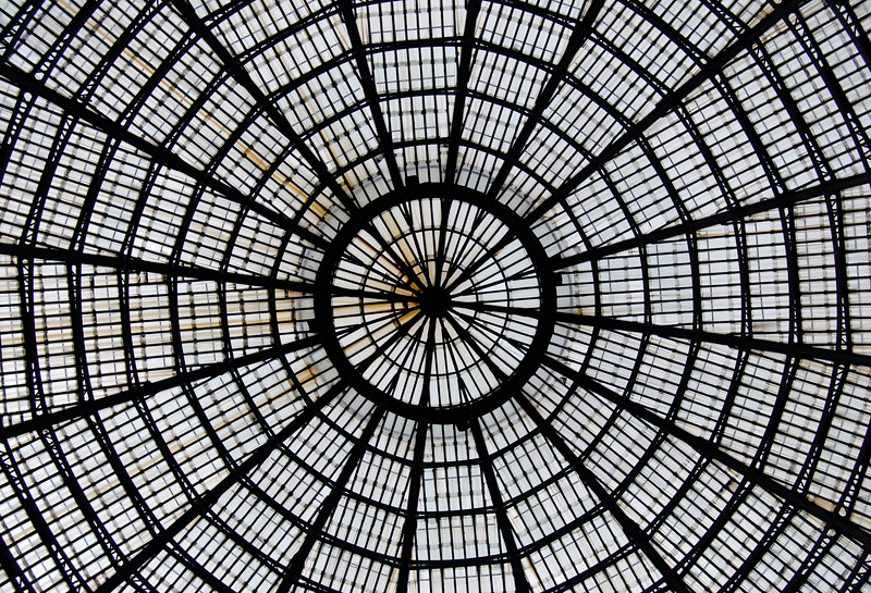 Detail of Glass-and-Iron Roof of Galleria Umberto I in Naples, Italy