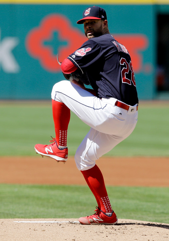 . Cleveland Indians starting pitcher Corey Kluber delivers in the first inning of a baseball game against the Minnesota Twins, Saturday, June 24, 2017, in Cleveland. (AP Photo/Tony Dejak)