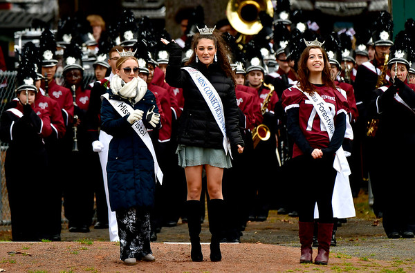 11/28/2019 Mike Orazzi | Staff Miss Bristol 2019 Micayla Barrows, Miss Connecticut's Outstanding Teen Lindiana Frangu and Miss Forestville Jaymie Bianca at the start of Thursday's Battle for the Bell at Muzzy Field.