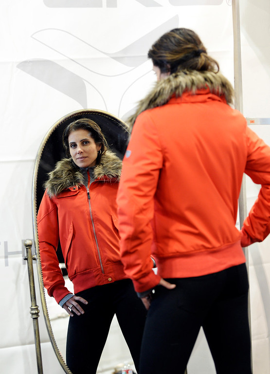 . This lava red bomber jacket from Fera  during a visit to the Snowsports Industries America  Snow Show at the Colorado Convention Center in Denver on Thursday, January 30, 2014. (Denver Post Photo by Cyrus McCrimmon)