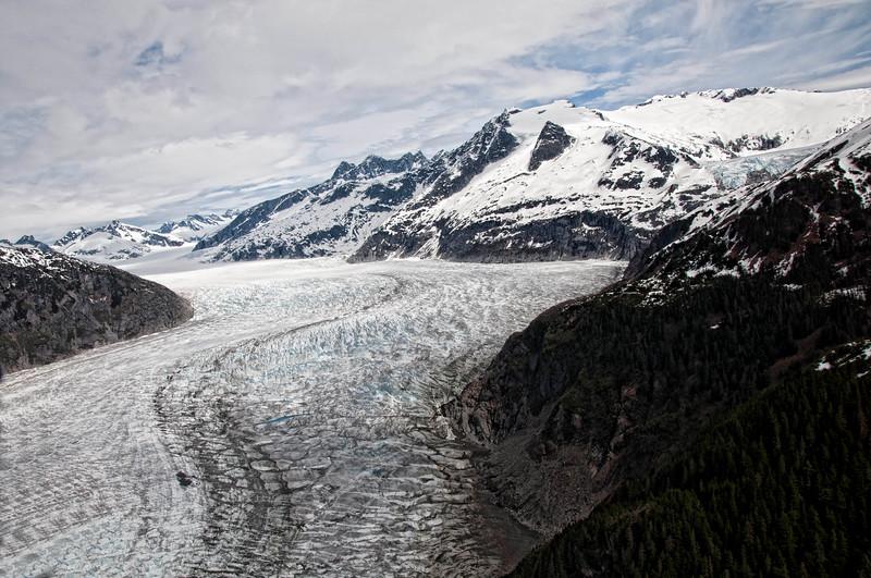"Mendenhall Glacier ""tracks"" from above."