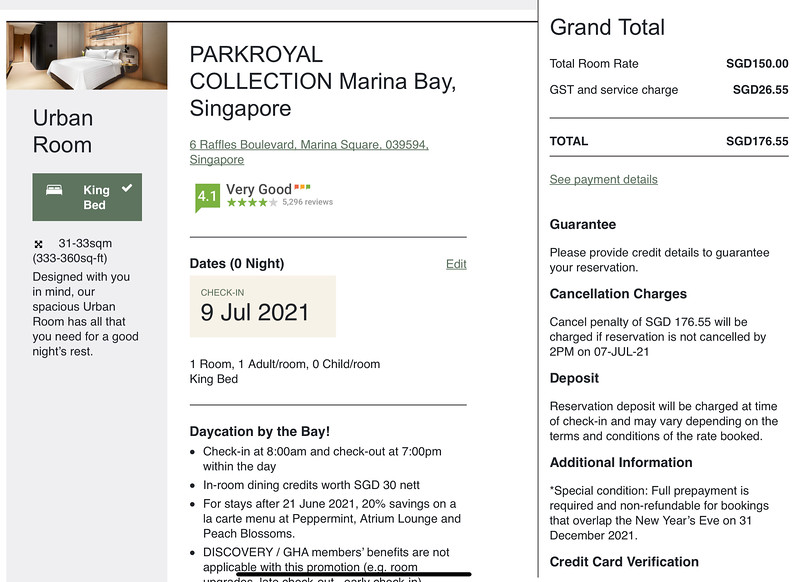 PARKROYAL COLLECTION Marina Bay Day Stay Cost