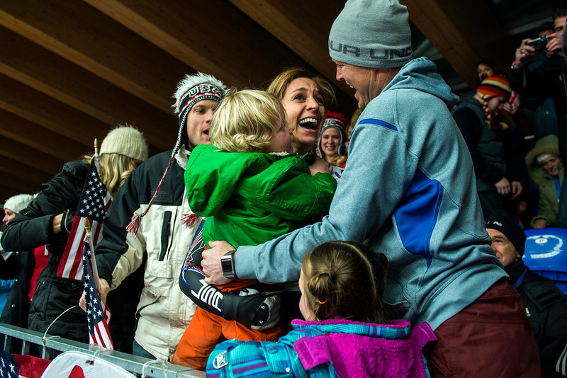 . Noelle Pikus-Pace celebrates with her family; son Traycen, 2, daughter Lacee, 6, husband Janson, right, and her brother Jared Pikus after winning the silver medal in the women\'s skeleton competition at Sanki Sliding Center during the 2014 Sochi Olympics Friday February 14, 2014. Pikus-Pace finished with a time of 3:53.86. (Photo by Chris Detrick/The Salt Lake Tribune)