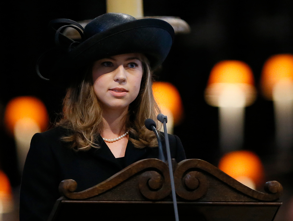 . Amanda Thatcher, granddaughter of former British Prime Minister Margaret Thatcher, delivers a reading during the funeral service in St Paul\'s Cathedral on April 17, 2013 in London, England. Dignitaries from around the world today join Queen Elizabeth II and Prince Philip, Duke of Edinburgh as the United Kingdom pays tribute to former Prime Minister Baroness Thatcher during a Ceremonial funeral with military honours at St Paul\'s Cathedral. Lady Thatcher, who died last week, was the first British female Prime Minister and served from 1979 to 1990. (Photo by Kirsty Wigglesworth - WPA Pool/Getty Images)