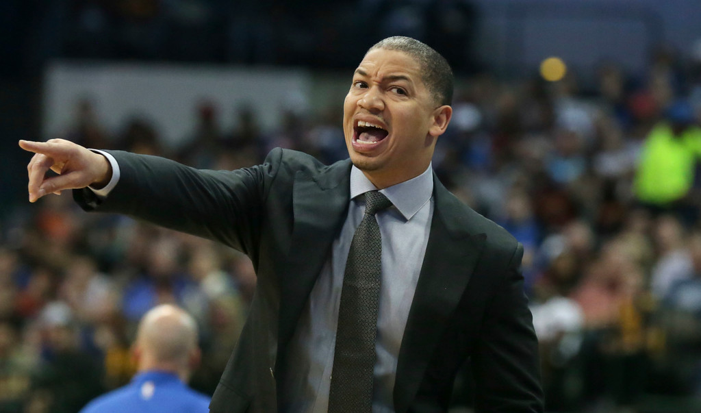 . Cleveland Cavaliers head coach Tyronn Lue yells from the sideline during the first half of an NBA basketball game against the Dallas Mavericks in Dallas, Saturday, Nov. 11, 2017. (AP Photo/LM Otero)