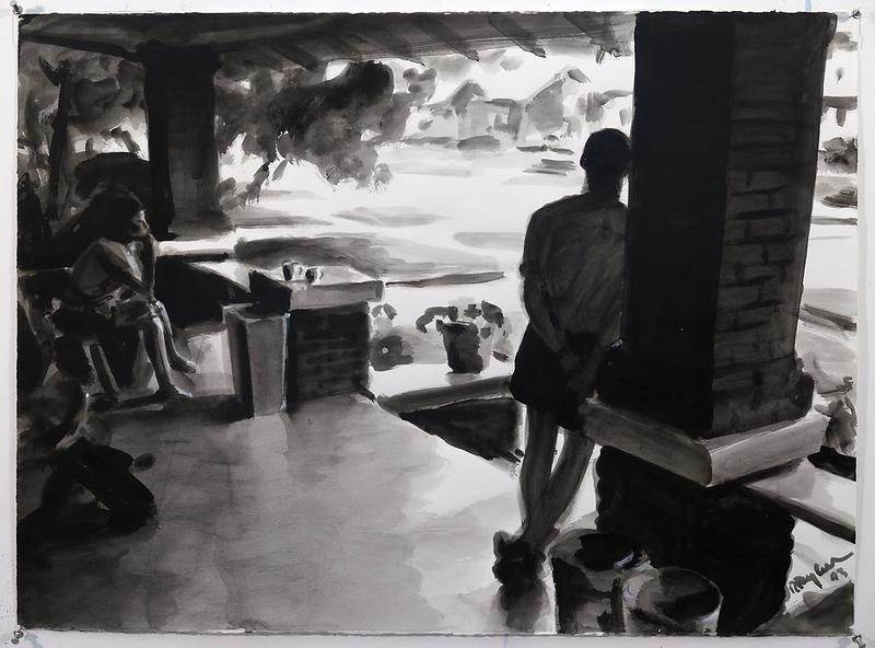 Rainy Porch (b/w); acrylic on paper, 22 x 30 in, 1993