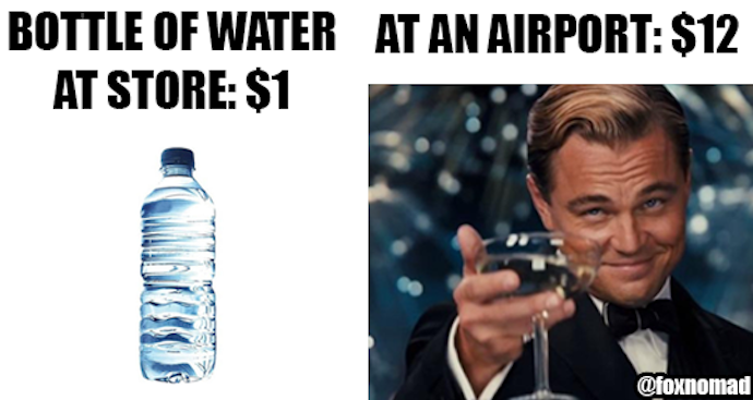 water at airport meme