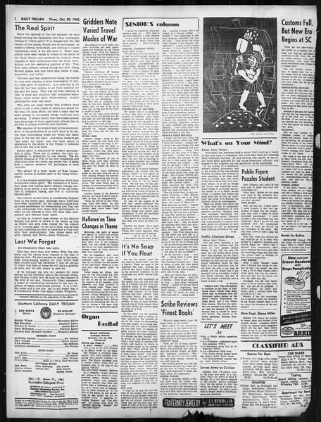 Daily Trojan, Vol. 34, No. 29, October 29, 1942