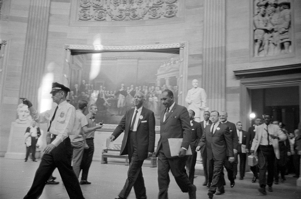 Description of . A. Philip Randolph and other civil rights leaders on their way to Congress during the March on Washington. Aug. 28, 1963. (Marion S. Trikosko - Library of Congress Prints and Photographs Division)