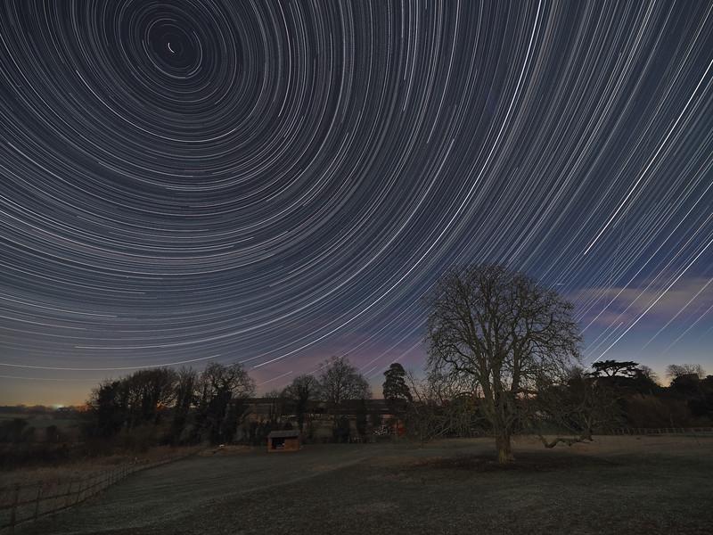 Moonlit star trail