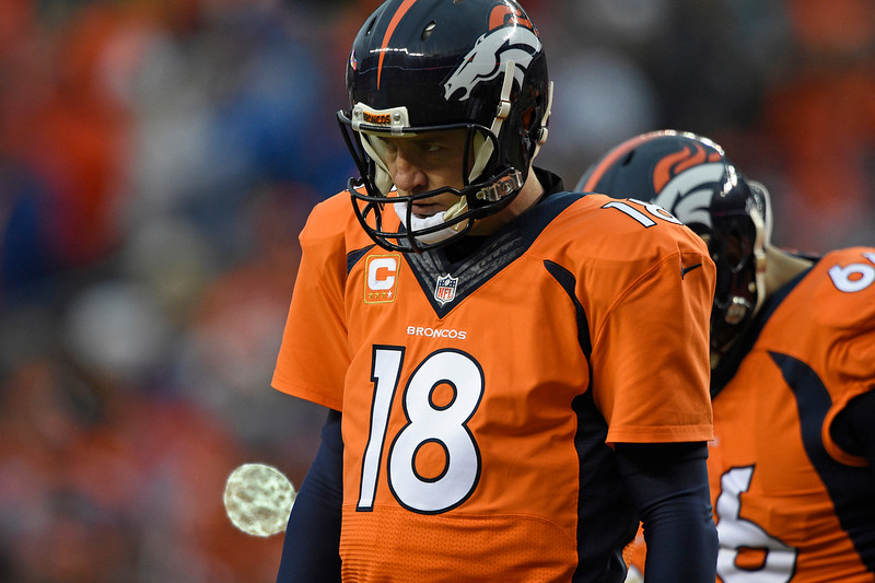 . Peyton Manning (18) of the Denver Broncos in the second quarter. The Denver Broncos played the Indianapolis Colts in an AFC divisional playoff game at Sports Authority Field at Mile High in Denver on January 11, 2015. (Photo by John Leyba/The Denver Post)