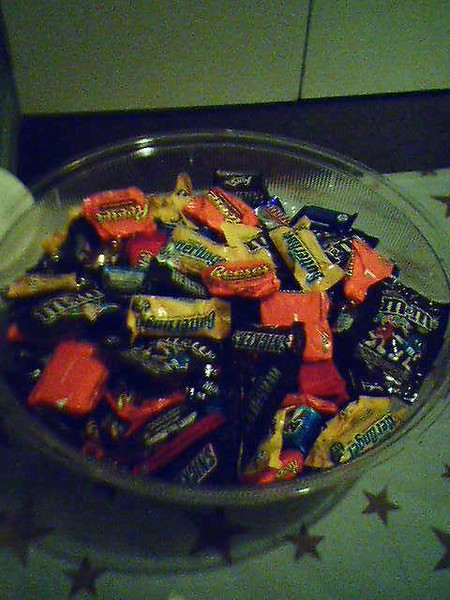 A candy bowl in the lobby