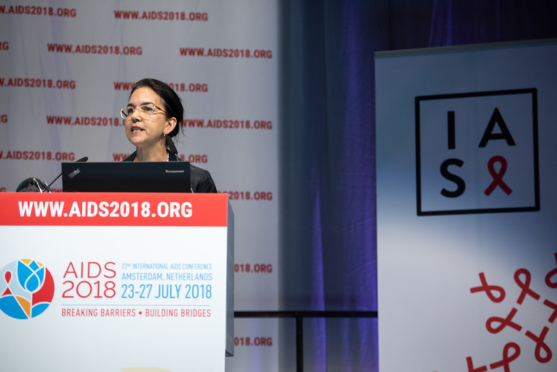 22nd International AIDS Conference (AIDS 2018) Amsterdam, Netherlands.   Copyright: Steve Forrest/Workers' Photos/ IAS  Photo shows: Lisa Maria Singh, delivering a speech in memory of David Cooper, during the IAS Members' Meeting.