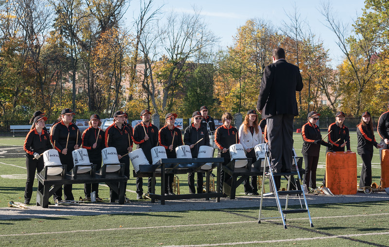 The halftime show included a unique percussion feature -- performed by the entire band