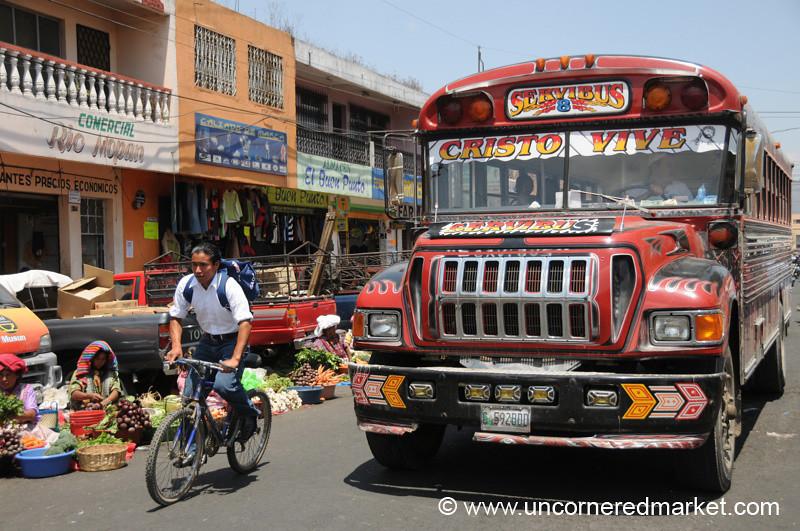 Chicken Bus and A Bike - Xela, Guatemala