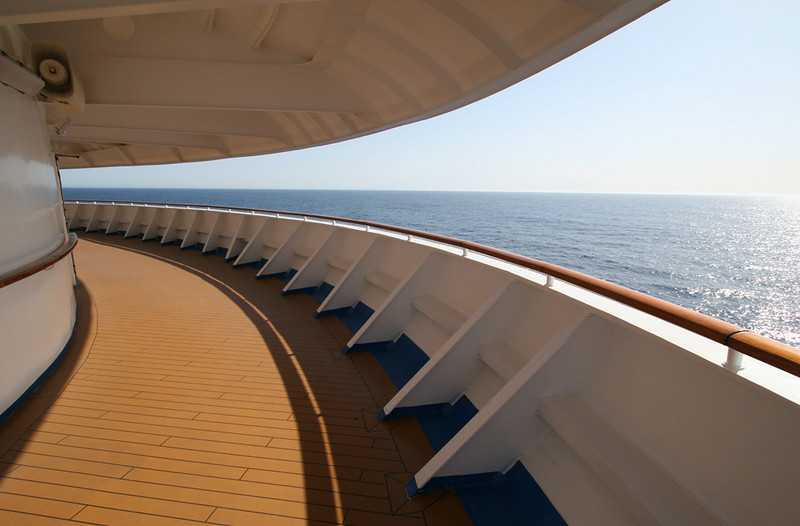 Promenade walkway at the nose of the ship.