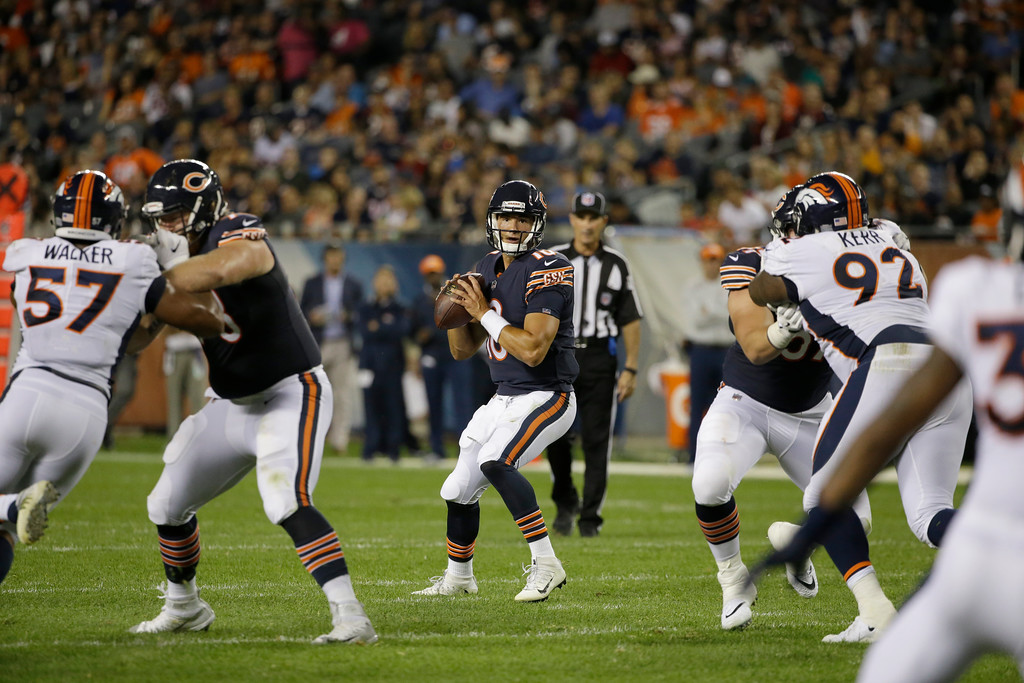 . Chicago Bears quarterback Mitchell Trubisky (10) looks for a receiver during the second half of an NFL preseason football game against the Denver Broncos, Thursday, Aug. 10, 2017, in Chicago. (AP Photo/Nam Y. Huh)