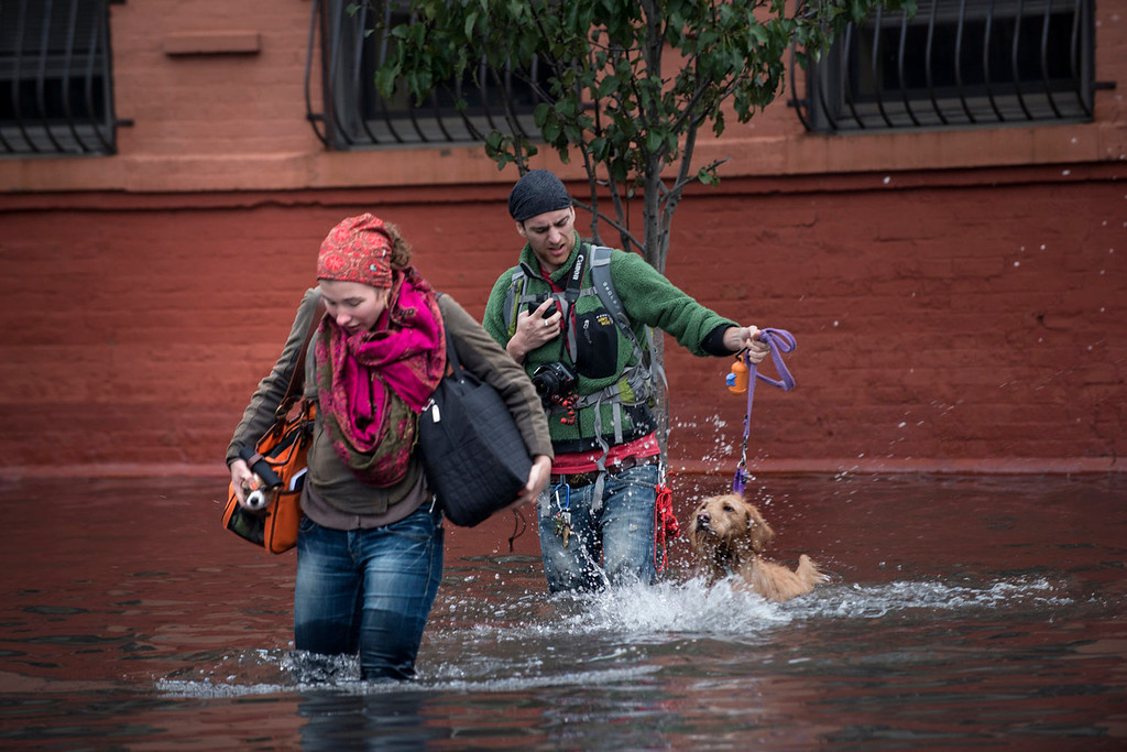 . Blaine Badick and her fiancee Andrew Grapsas cross a flooded street with their dog while leaving their home October 31, 2012 in Hoboken, New Jersey.  Hurricane Sandy which made landfall along the New Jersey shore, has left parts of the state and the surrounding area flooded and without power. AFP PHOTO/Brendan SMIALOWSKI
