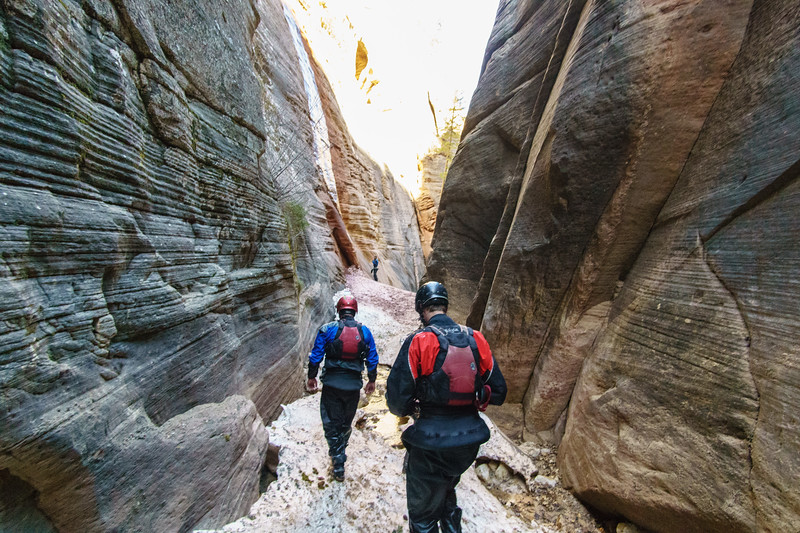 Eric Jones and Wally Macfarlane exloring a side-canyon of the North Fork of the Virgin.